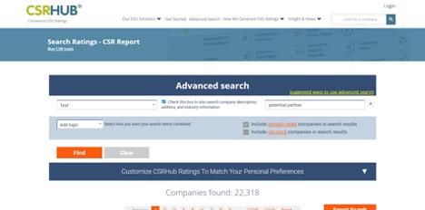 CSRHub search engine CSR ratings